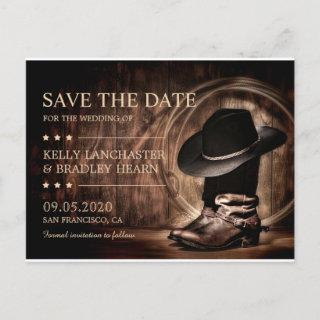 Country Western Wild West Wedding Save The Date Announcement Postcard