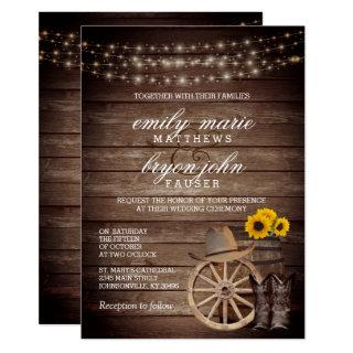 Country Wood Barrel Wedding with Sunflowers Invitations
