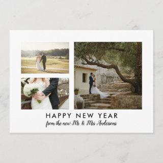 Couple Photo Happy New Year Minimalist Holiday Card