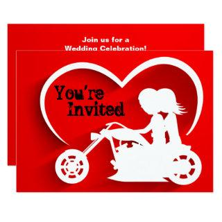 Couple Riding Motorcycle, Heart Wedding Invitations