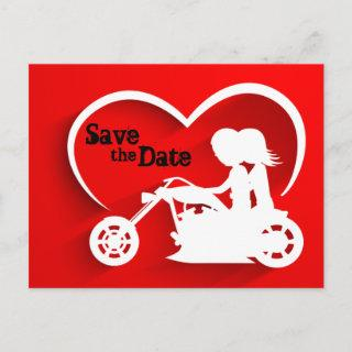 Couple Riding Motorcycle Save the Date Wedding Announcement Postcard