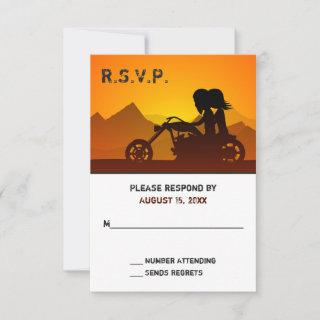 Couple Riding Motorcycle with Mountains Wedding RSVP Card