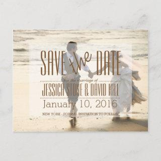 Couple Running on the Beach/Save The Date Announcement Postcard