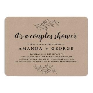 Couple shower Invitations rustic kraft card