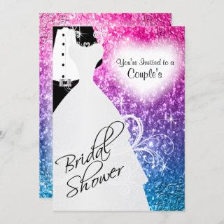 Couple's Bridal Shower in an Elegant Glitter Color Invitation