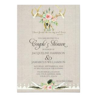 Couples Shower BOHO Feathers Deer Antler Roses Art Invitations