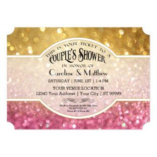Couples Shower Bokeh Movie Ticket Style Gold Pink Invitations