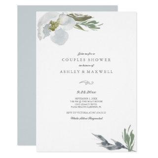 Couples Shower Cool Grey Watercolor Florals Invitation