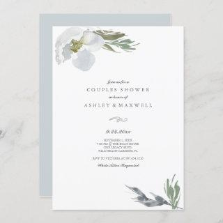 Couples Shower Cool Grey Watercolor Florals Invitations