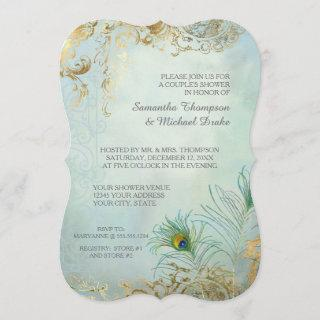 Couples Shower Gold Leaf Peacock Feathers Elegant Invitations