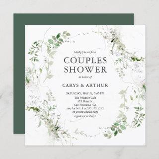 Couples Shower Greenery Modern Invitations