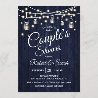 Couple's Shower - Navy Rustic Wood Invitation