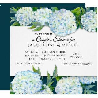 Couples Shower Peacock Blue White Hydrangea Floral Invitations
