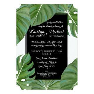 Couples Shower Tropical Leaf Foliage Beach Modern Invitation