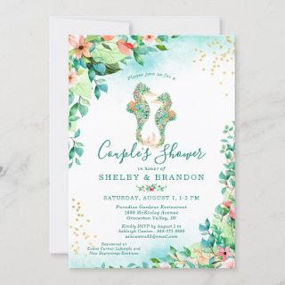 Couples Wedding Shower Tropical Floral Seahorses Invitations