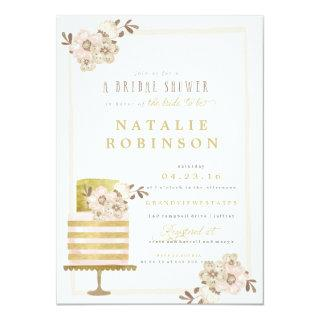 Couture Cake Bridal Shower Invitations - gold