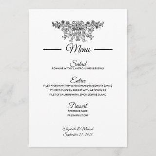 Coventry Traditional Wedding Reception Menu Invitation