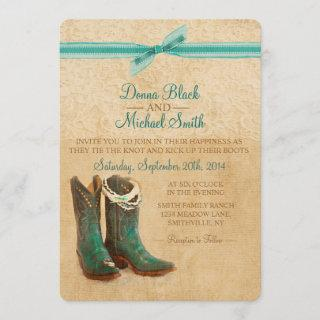 Cowboy Boots and Lace Wedding