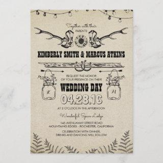 Cowboy Boots Sunflower Country Rustic Barn Wedding Invitations