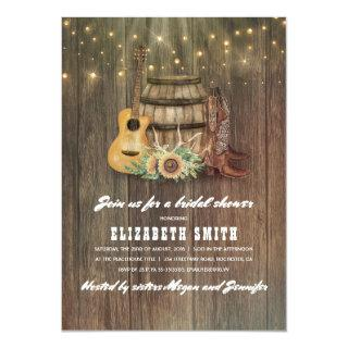 Cowboy Boots Wine Barrel Country Bridal Shower Invitation