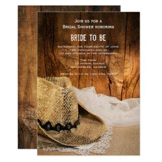 Cowboy Hat and Barn Wood Western Bridal Shower Invitations