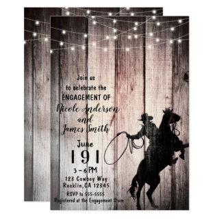 Cowboy Rustic Wood Barn Country Engagement Shower Invitations