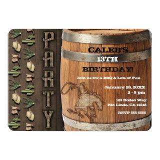 Cowboy Western Rodeo Wooden Barrel Birthday Party Invitations