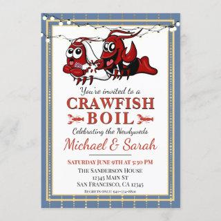 Crawfish Boil Blue Gold Newlywed Engagement Invitations