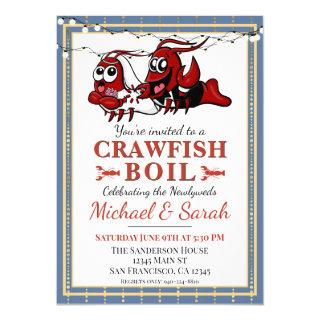 Crawfish Boil Blue Gold Newlywed Engagement Invitation
