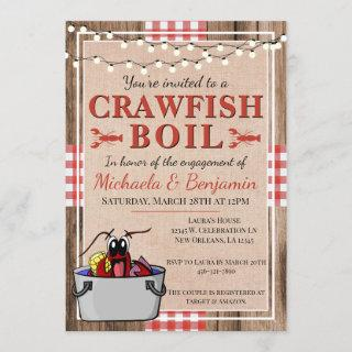 Crawfish Boil Lobster Rustic Engagement Party Invitations