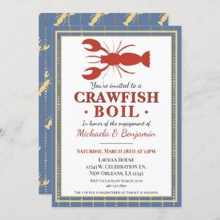 Crawfish Boil Seafood Blue Engagement Party Invitation