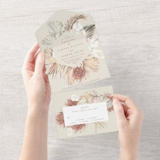 Cream Beige   Pampas Dried Grass Floral   Wedding All In One Invitations