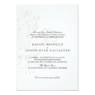 Cream Fleur de lis  | Wedding Invitation