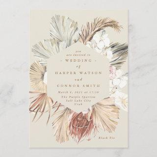 Cream Pampas Dried Grass Floral Jungle Wedding Invitation