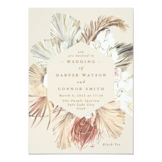 Cream Pampas Dried Grass Floral Jungle Wedding Invitations
