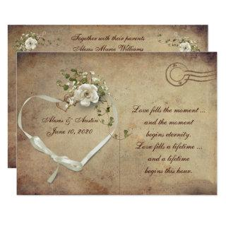 cream white Wedding Rose Postcard