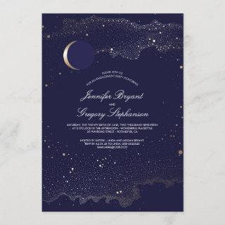 Crescent Moon and Night Stars Engagement Party Invitations