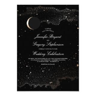 Crescent Moon and Night Stars Modern Wedding Invitation