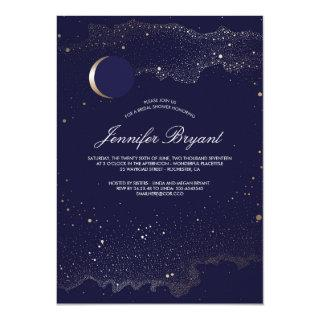 Crescent Moon and Night Stars Navy Bridal Shower Invitations