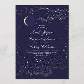 Crescent Moon and Night Stars Navy Wedding Invitation