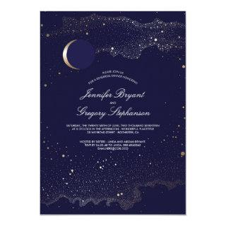 Crescent Moon and Night Stars Rehearsal Dinner Invitation