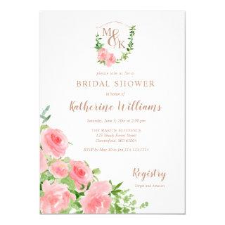 Crest Monogram Initials Pink Rose Bridal Shower Invitations