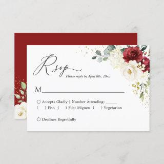 Crimson Red White Floral Gold Confetti Wedding RSVP Card