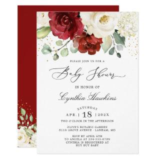 Crimson Red White Rustic Chic Floral Baby Shower Invitation