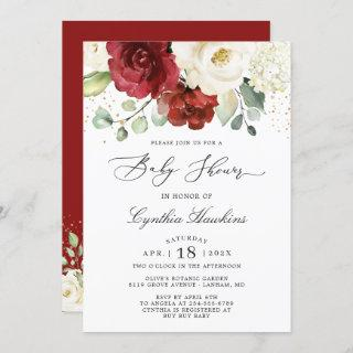 Crimson Red White Rustic Chic Floral Baby Shower Invitations