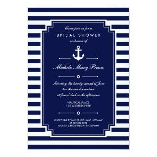 Crisp Blue White Nautical Bridal Shower Invitations