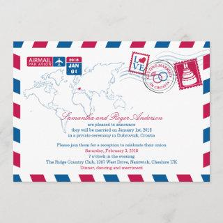 Croatia Air Mail Post Wedding Reception Invitation
