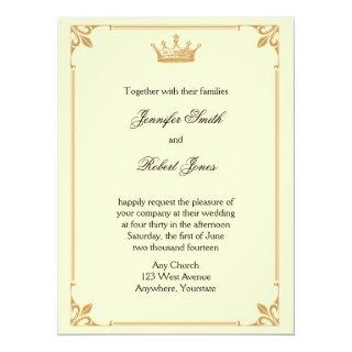 Crown Regency in Gold and Ivory Wedding Invitation
