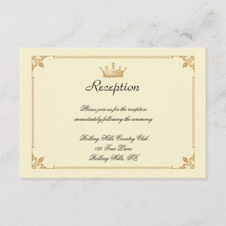 Crown Regency in Gold and Ivory Wedding Reception Enclosure Card