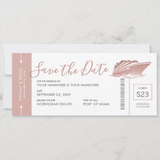 Cruise Wedding Boarding Pass Ticket Rose Gold Pink Save The Date